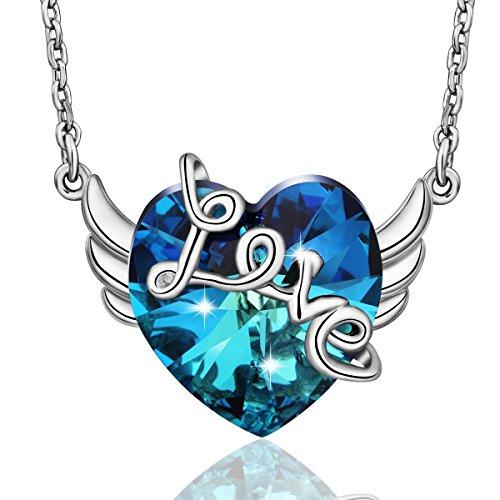 EUDORA Necklace LOVE & Angel Wings Choker Made With Ocean Heart SWAROVSKI Crystal 18