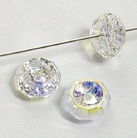6 pcs Swarovski Crystal 5308 Beveled Rondelle Bead Spacer Clear AB 8mm / Findings / Crystallized - Element Spacer