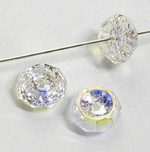 Swarovski Crystal Spacers (12 pcs Swarovski Crystal 5308 Beveled Rondelle Bead Spacer Clear AB 6mm / Findings / Crystallized Element)