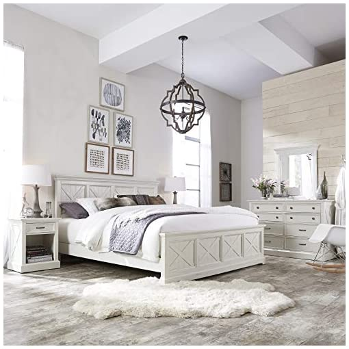 """Bedroom Home Styles Seaside Lodge White King Bed with """"X"""" Frame Pattern, Raised Panels, Head and Footboard, Hand-rubbed Painted Finish, and Solid Mahogany Frames farmhouse beds and bed frames"""