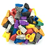 Accessbuy 100 Pcs Mixed Color CAT5E CAT6 RJ45 Ethernet Network Cable Strain Relief Boots Cable Connector Plug Cover 17 The RJ45 boots cover protects RJ45 connectors from dust and Oxidation extending the RJ plug's life time. Size: 2.7*1.5*1.6cm Multiple color for your options-white, gray, red, black, purple, blue, green, yellow, orange, dark gray.