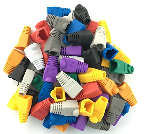 Accessbuy Soft Plastic CAT5E CAT6 Ethernet RJ45 Cable Connector Boots Plug Cover Strain Relief Boots Multicolor 100 Pcs 8 The RJ45 boots cover protects RJ45 connectors from dust and Oxidation extending the RJ plug's life time. Size: 2.7*1.5*1.6cm Multiple color for your options-white, gray, red, black, purple, blue, green, yellow, orange, dark gray.