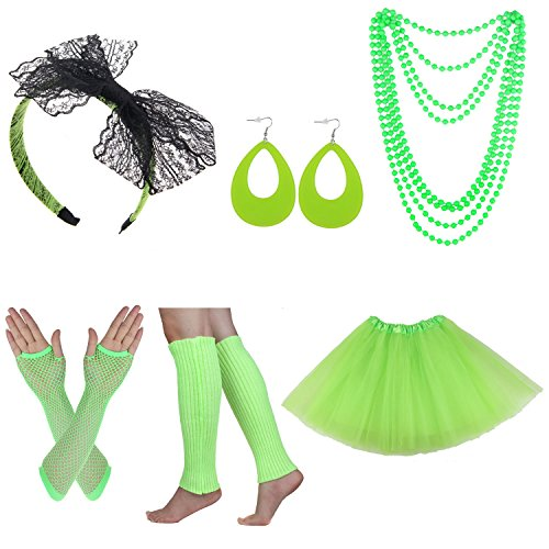 Women's 80s Costume Set Adult Tutu Skirt Fishnet Gloves Neon Leg Warmer Earrings (Set P) -