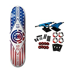 """The Element Live Free Deck Measures 8.0"""" Wide. Constructed with 100% Canadian Maple. Core trucks are light weight and feature heavy duty aluminum with grade 8 steel kingpins and axles, as well as USA made bushings and pivot cups. 52mm 99A are..."""