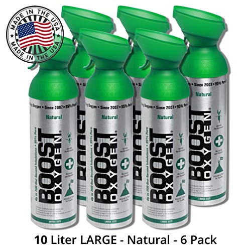 95% Pure Oxygen Supplement, Portable Canister of Clean Oxygen, Increases Endurance, Recovery, Mental Acuity and Performance (10 Liter Can, Natural, 6-Pack)