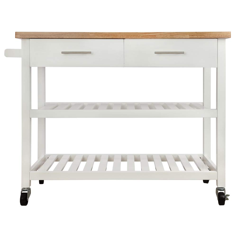 Homegear Open Storage V3 Kitchen Cart with Shelves - Island on Wheels White by Homegear (Image #3)