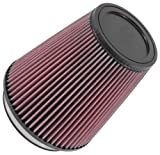 K&N RU-2800 Universal Clamp-On Air Filter: Round Tapered; 5 in (127 mm) Flange ID; 7 in (178 mm) Height; 6.5 in (165 mm) Base; 4.375 in (111 mm) Top