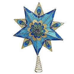 Kurt Adler 10-Point Peacock Glitter Treetop, 16-Inch