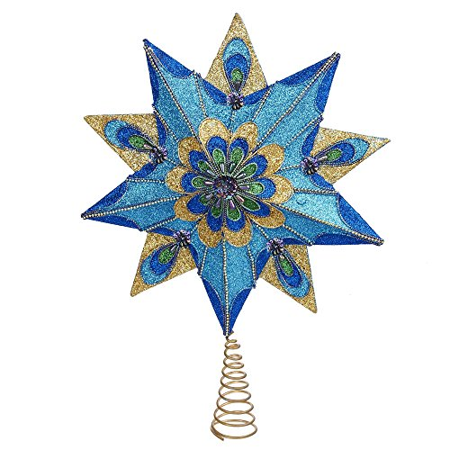 Kurt Adler 10-Point Peacock Glitter Treetop, 16-Inch