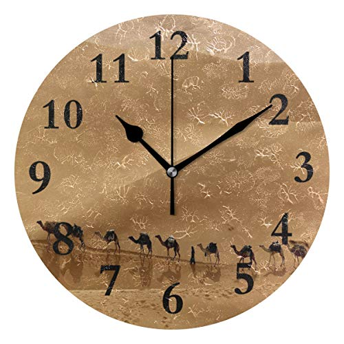 - FunnyCustom Round Wall Clock Camel in Desert Acrylic Creative Decorative for Living Room/Kitchen/Bedroom/Family