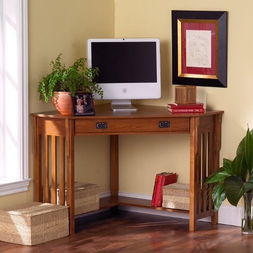 Mission Style Corner Computer - Southern Enterprises, Inc. Mission Style Oak Finish Corner Computer Desk