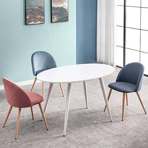 Mc Haus FIKKA - Mesa Comedor Blanca Ovalada de madera MDF diseno Escandinavo con patas color Blanco lacadas, Mesa cocina salon 129x79x75cm