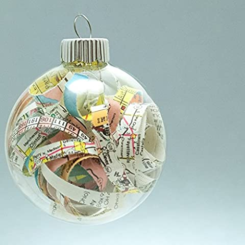 Vintage Map Christmas Ornament - 2.62 Inch Glass Ornament with 1/4 Inch Strips