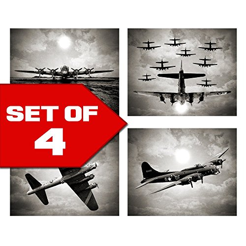 Wall Art in Bogart Black & White Set of Four 8x10 Airplane Theme Decor Prints, Great for Mens gift, office, home, bachelor pad, Barbershop Decoration! Only at Wallables! ()