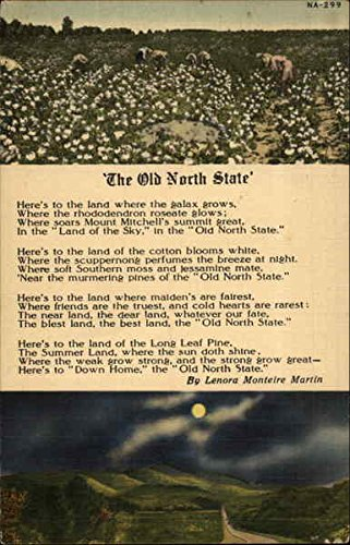 The Old North State Poems & Poets Original Vintage Postcard