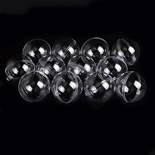 EKIND 60mm Clear Plastic Acrylic Fillable Ball Ornament For Christmas, DIY - Pack of 12
