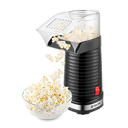 Popcorn Maker, iSiLER Popcorn Machine, 1200W Hot Air Popcorn Popper, Makes 12 Cups of Popcorn Healthy Machine No Oil Needed
