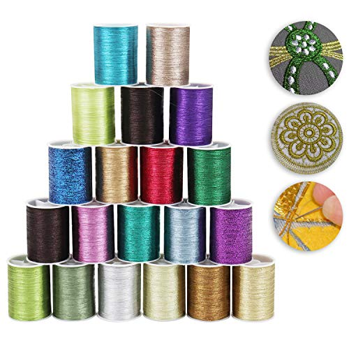 Metallic Sewing Thread (20 Pcs) - 55m of Embroidery Threads Set in Assorted Colors for Knitting, Sewing, Crochet, Embroidery, Cross Stitch, Weaving - Natural Hand/Machine Reel Spools Kit