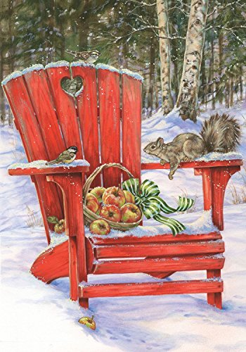 Adirondack Apples - Briarwood Lane Winter Gathering Garden Flag Adirondack Chair Apples Squirrel 12.5