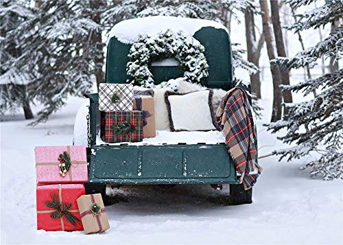 7x5ft Christmas Backdrops Winter Forest Snown Green Car Photo Backgrounds with Pillows Xmas Garland Gift Photography Shoot Backdrop Studio Props (Pillow Christmas By Photo)