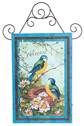 Welcome Spring Birds LED Light-Canvas Wall Plaque Sign
