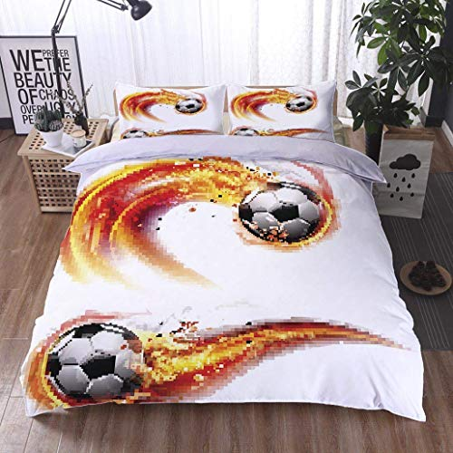 VROSELV-HOME 3 PCS King Size Comforter Set,Soccer Ball on fire Trail,Soft,Breathable,Hypoallergenic,Cool 3D Outer Space Bedding Digital Print