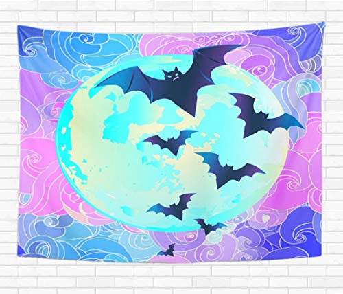 Topyee Home Decorative Tapestry Wall Hanging Halloween Creepy Cute Bat Flying Against Full Moon 60x80 Inch Tapestries Wall Blanket for Dorm Living Room Bedroom]()