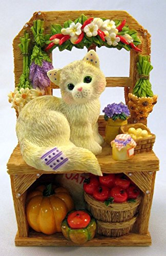 Calico Kittens Autumn Harvest Cat By Pumpkin Tomatoes Special Issue Figurine 785067