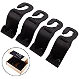 Car SUV Back Seat Headrest Hanger Storage Hooks -CIKIShield Purse Handbag Grocery Bag Holder(Black -Set of 4)
