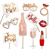 10PCS Hen Party Photo Booth Props Team Bride Wedding Party Photobooth Decoration Bridal Shower Bachelorette Party Supplies Photobooth (Size 1)