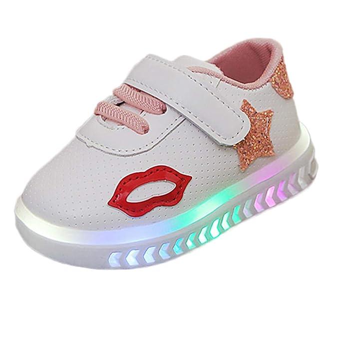 YanHoo Estrellas Velcro Luces LED Hombres y Mujeres Zapatos Ocasionales Zapatillas Brillantes Luces Zapatos Niños Bebés Infant Toddler Girls Boys Luminoso ...