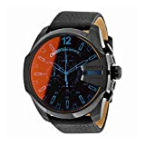 Image of Diesel Men's Mega Chief Quartz Stainless Steel and Leather Chronograph Watch, Color: Black (Model: DZ4323)