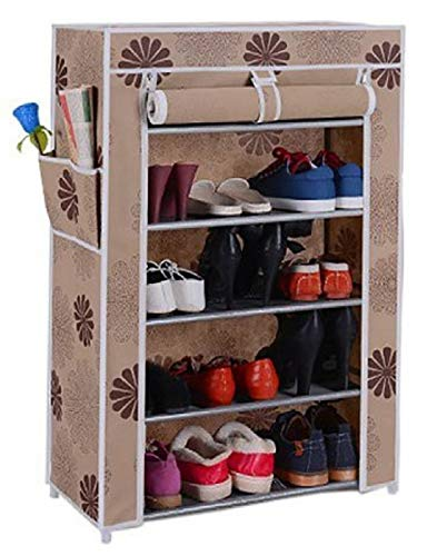 Ebee Store Metal Collapsible 5 Shelves Shoe Stand  Beige   CF6