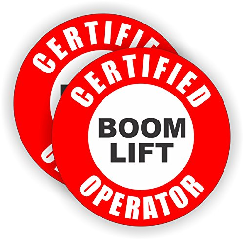 2x Certified Boom Lift Operator Hard Hat Stickers | Helmet Decals Labels Lunch Box Toolbox Crane Truck Bucket