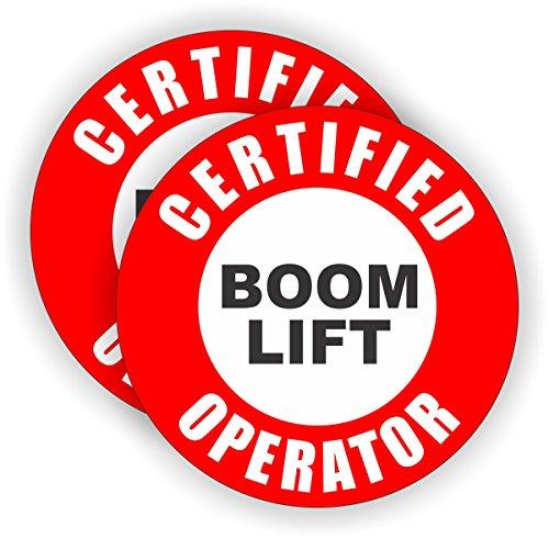 2x Certified Boom Lift Operator Hard Hat Stickers | Helmet Decals Labels Lunch Box Toolbox Crane Truck Bucket (Lift Boom)
