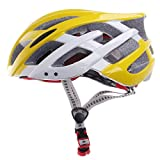 Generic CG03DG-008 Outdoor Bike Bicycle Cycling Helmet - Yellow+White (Size:L)