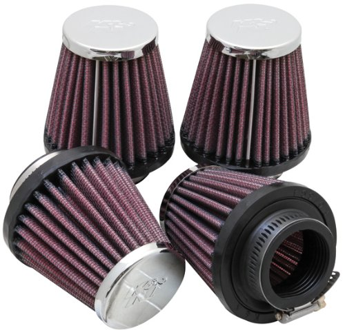 Pack of 4 K/&N RC-2314 Motorcycle Universal Chrome Air Filter