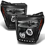 F-Series SuperDuty Pickup Truck Black Bezel CCFL Halo Ring LED Projector Headlights Replacement