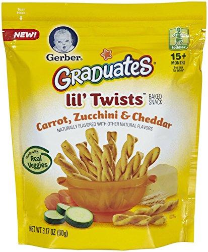 Gerber Graduates Lil' Twists - Carrot Zucchini Cheddar - 3.17 oz - 4 pk