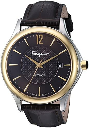 Salvatore Ferragamo Men s Time Automatic Swiss Quartz Stainless Steel and Leather Casual Watch, Color Brown Model FFT030016