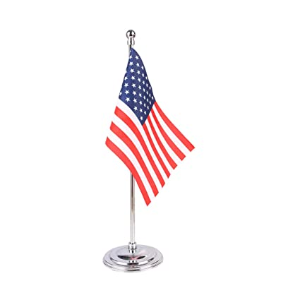 Amazon com : USA Miniature Table Flag with A Chrome-Plated