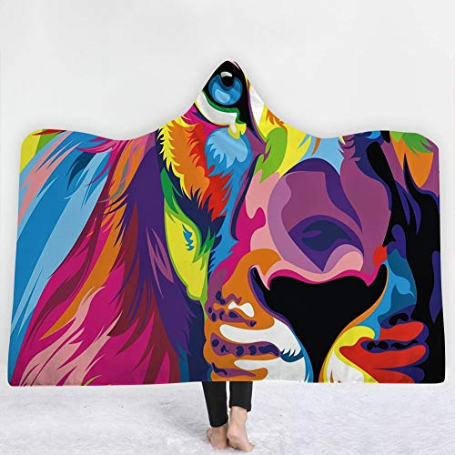 Love of Life 3D Digital Watercolor Animal Pattern Flannel Fleece Hooded Blanket Cloak Hoodie Ultra Plush Soft Warm Men Women Winter,3,150x130cm(59x51inch) (Flannel Hoodie Reversible)