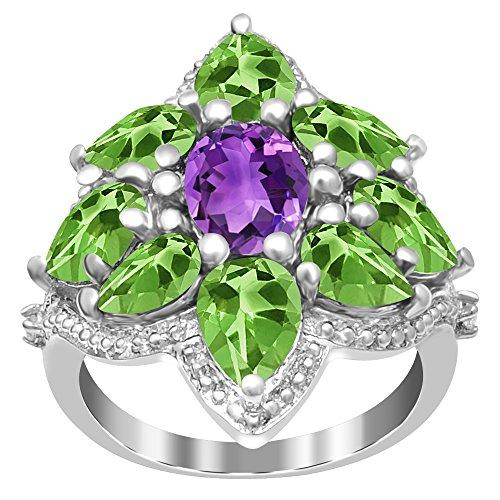 Peridot Kids Ring (925 Sterling Silver 6.42 Carat TGW Amethyst, Peridot & White Topaz Cluster Ring)