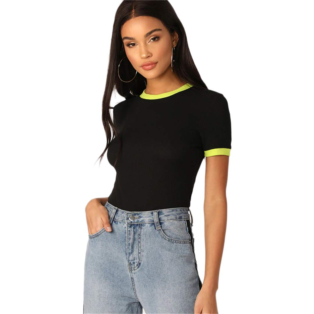 Neon Yellow Ringer Neck and Cuff Tee Women Short Sleeve Stretchy Top Streetwear T-Shirt