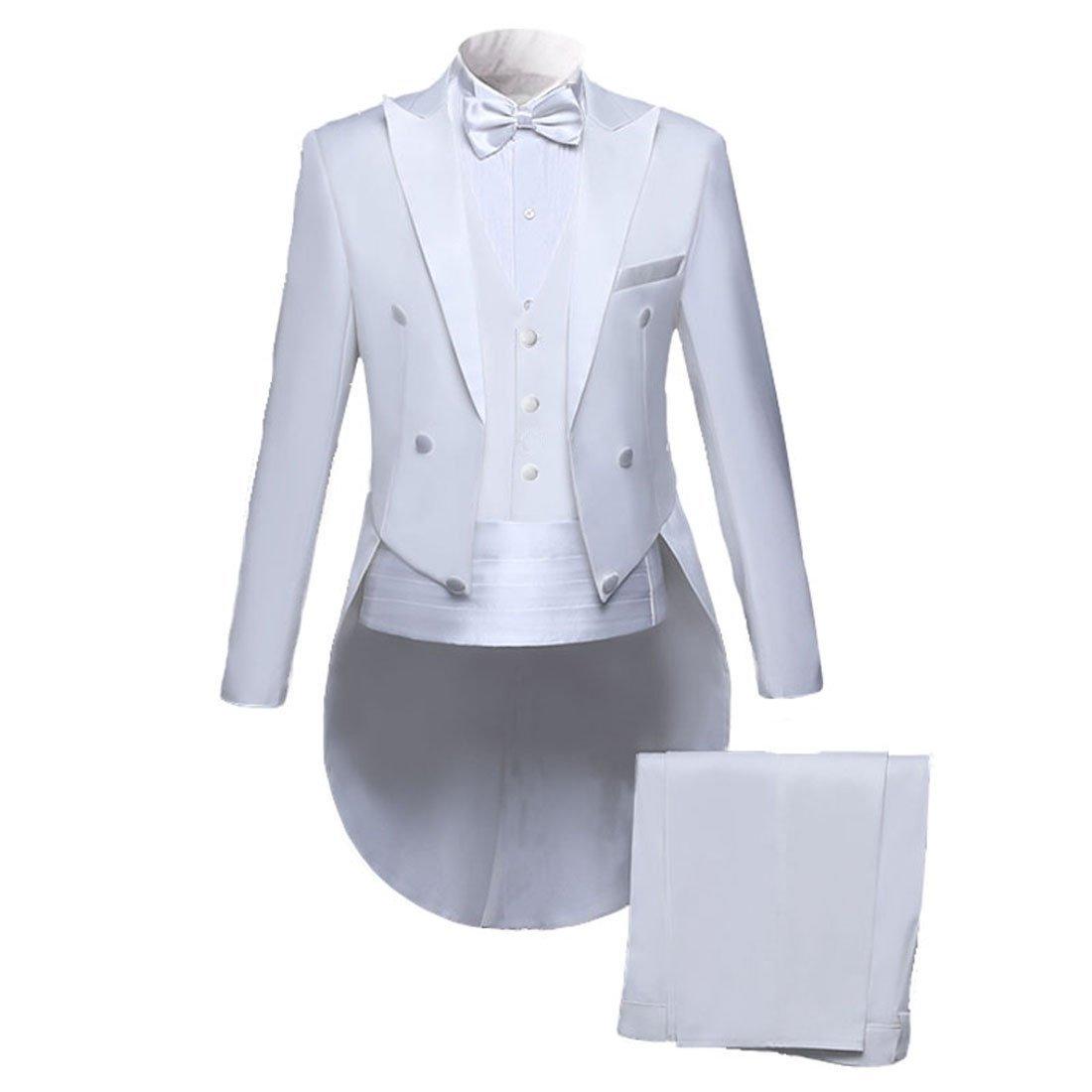 PYJTRL Men Classic 5 Piece Set Tailcoat Tuxedo (Jacket+Pants+Vest+Bow Tie+Cummerbund