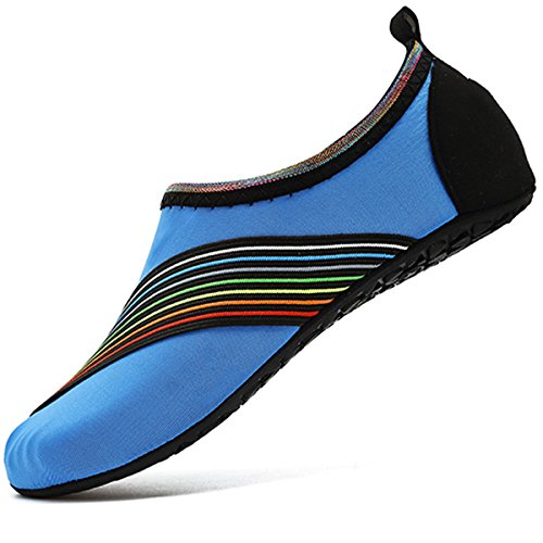 VIFUUR Water Sports Shoes Barefoot Quick-Dry Aqua Yoga Socks Slip-on for Men Women Kids XidaiBlue-36/37
