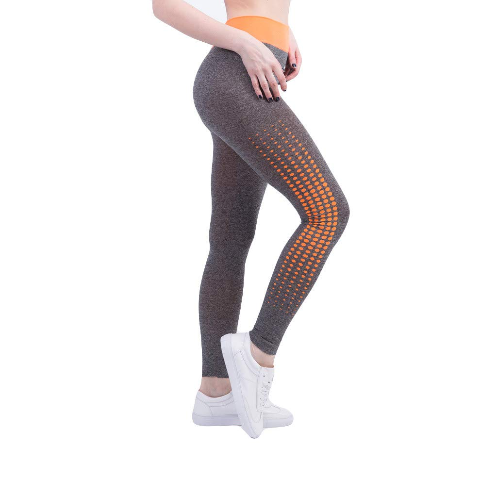 Kaicran Women's Sports Running Yoga Pants Colorblock Comfy Sweat-Absorbent Fitness Tight Pants Leggings (S, Orange)