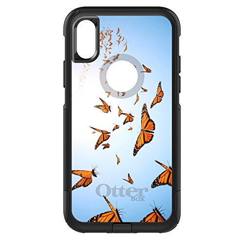 CUSTOM Black OtterBox Commuter Series Case for Apple iPhone X 10 - Flying Monarch Butterflies