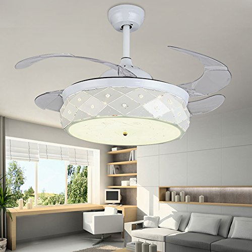 Yue Jia 42 Inch Promoting Natural Ventilation White Invisible Fan Modern Luxury Dimmable (Warm/Daylight/Cool White) Chandelier Foldable Ceiling Fans With Lights Ceiling Fans with Remote Control by YUEJIA (Image #2)