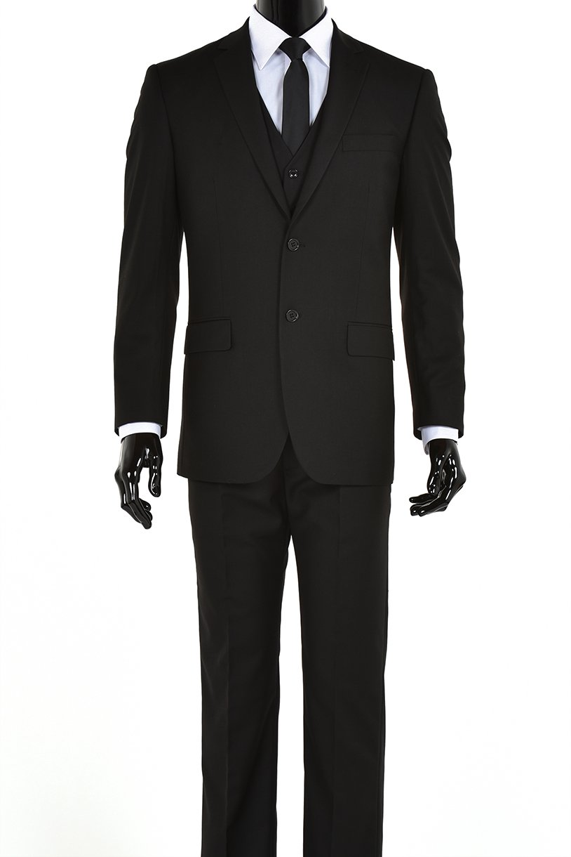 Elegant Men's Black Two Button Three Piece Suit (44 Regular)